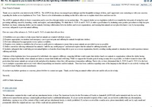 Reply from the ASPCA to my Open Letter to their BOD Chair
